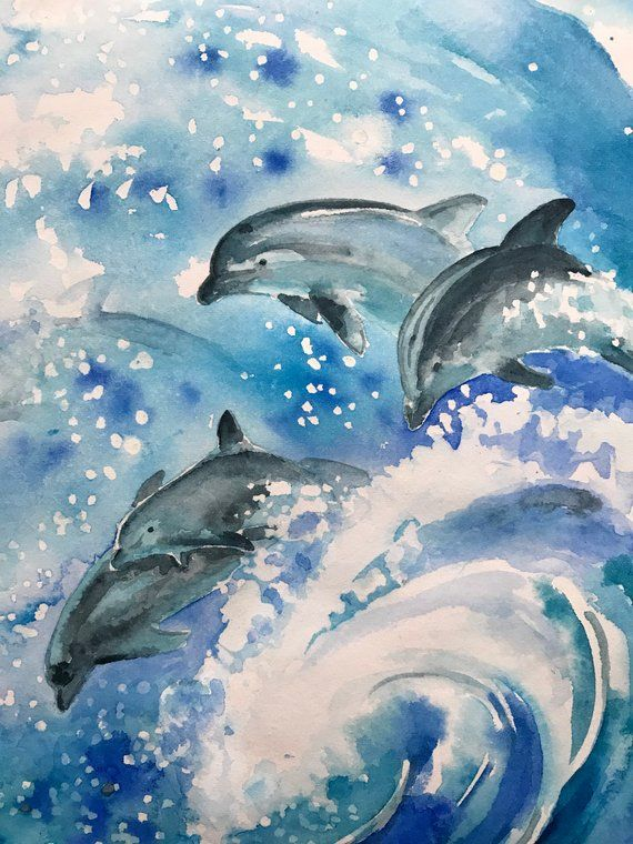 Watercolor Painting Abstract Dolphins Painting Seascape Watercolor Painting Abstractart Dol Dolphin Painting Watercolor Paintings Abstract Dolphin Art