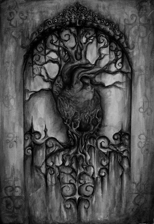 Black and White creepy edit dark heart surreal gothic ...
