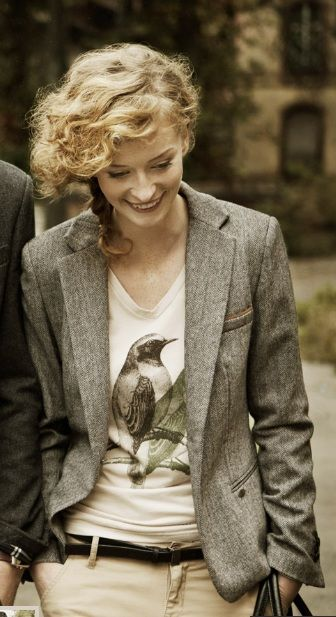 Bird T-Shirt. I work at a conservative university press. I love pushing the envelope by wearing something a little unconventional (relatively speaking) that still fits the dress code. An elegant graphic tee under a traditional blazer does the trick.