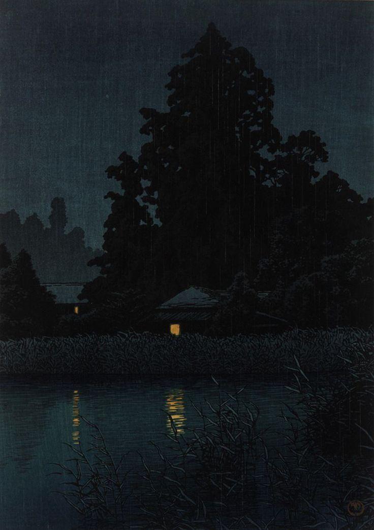 Kawase Hasui, (Japanese, 1883 - 1957), Night Rain At Omiya, 1930, Woodblock print; ink and color on paper.