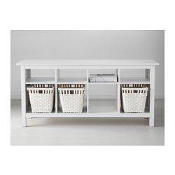 IKEA - HEMNES, Ablagetisch, weiß gebeizt, , Massivholz sorgt für eine natürliche Note.8 Fächer in zwei verschiedenen Größen: praktische Aufbewahrung für Bücher, Zeitschriften, Zubehör usw.Optimal als praktische Ablagefläche hinter frei stehenden Sofas, an der Wand oder als Raumteiler.