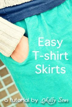 Make this easy t-shirt skirt (with pockets!) wtih this tutorial from Melly Sews