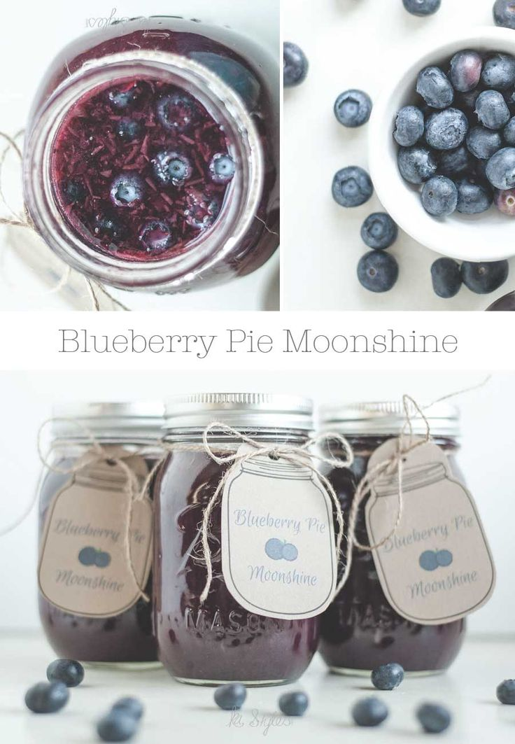 Blueberry Pie Moonshine Recipe with printable jar tags.