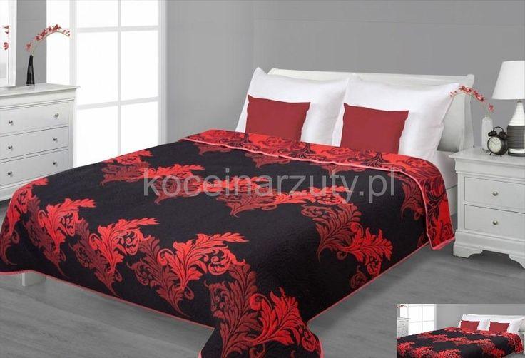 Dwustronne czarne narzuty na łóżko z czarnym ornamentem