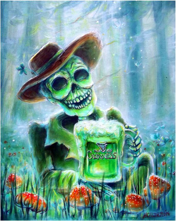 Day of the Dead Cerveza Verde Quality Print by artist Heather Calderon