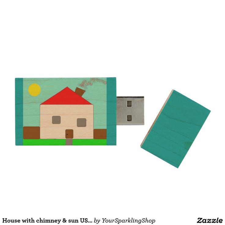 House with chimney & sun USB Art by Kids :) Wood USB 2.0 Flash Drive
