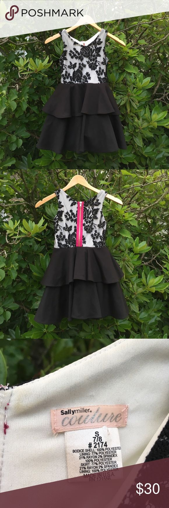 Sally Miller Couture black lace girls dress Gorgeous Sally Miller Couture girls formal dress. Great for an occasion. Black sleeveless lace top with white lining. Slight stain in white lining. Hot Pink back zipper closure. Two tier flair skirt. Tulle lining. Great condition. Love it! Sally Miller Dresses Formal