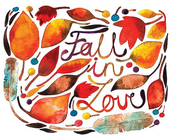 Fall In Love Watercolor Illustration Print Brown Orange Yellow Autumn Feather Leaves Nature Home Decor Calligraphic Alphabet. $25.00, via Etsy.
