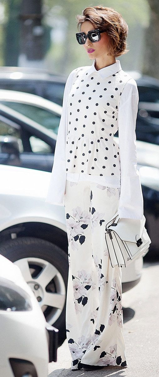 mix of prints | mixing prints and patterns | polka dot top | wide leg trousers | loeffler randall bag | layering in summer styles | fashion blogger Ellena Galant
