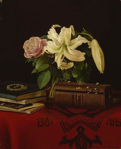 """Still Life on a Lady's Worktable"" (1868)   FERDINAND VON WRIGHT (1822-1906)"