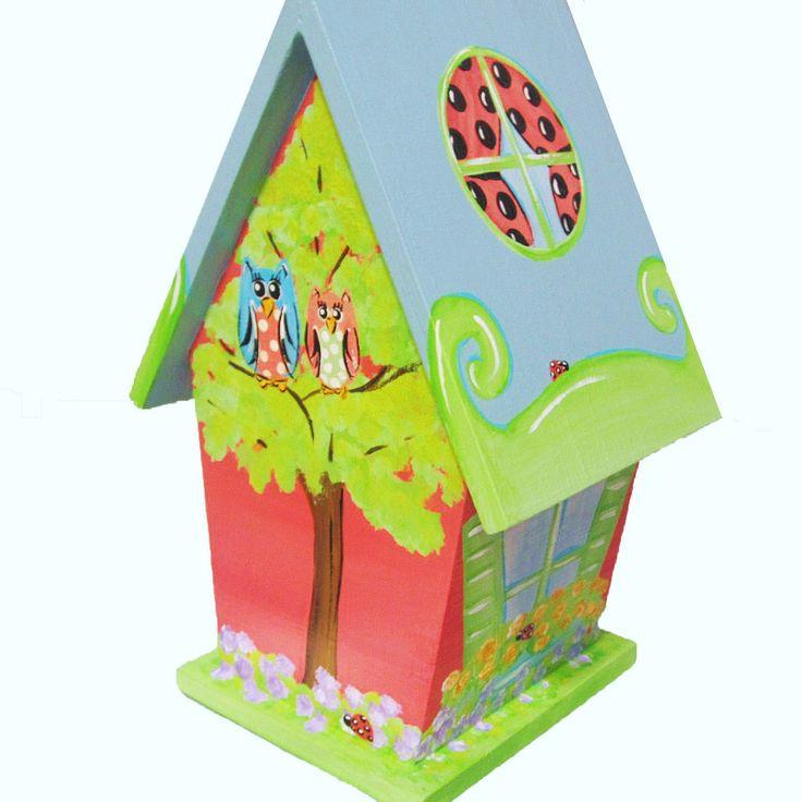 Ladybug Hand Painted Birdhouse with Owls
