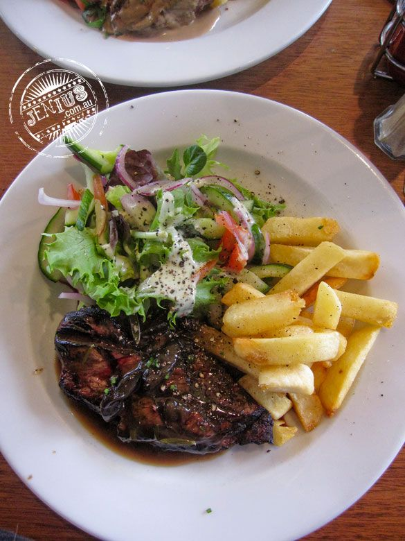Sirloin Steak with Chips, Salad and Mushroom Sauce ($10). Trinity Bar, Surry Hills.