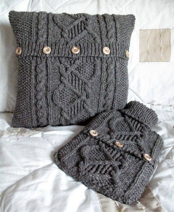 recycle an old sweater to make a pillow cover and hot water bottle cover & 76 best hand knit pillows images on Pinterest | Cushions Knit ... pillowsntoast.com