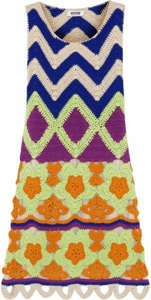 Moschino Cheap and Chic Crocheted Cotton Mini Dress @Lyst