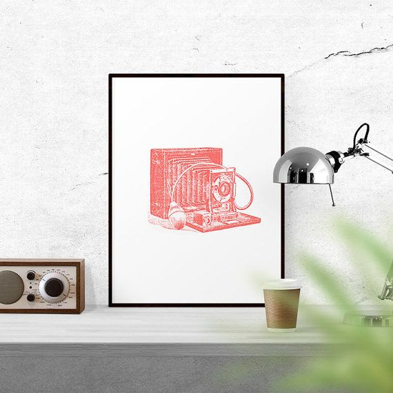 Coral Old Camera Printable Photography Art by WallCandyPrintables
