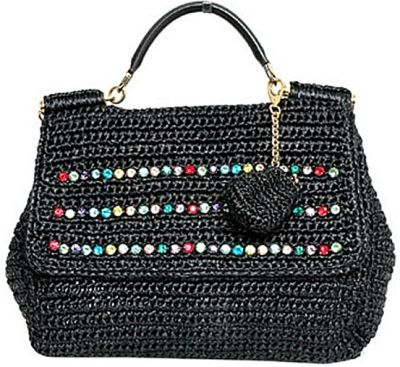 dolce-and-gabana-black-raffia-handbag cool handle attachment