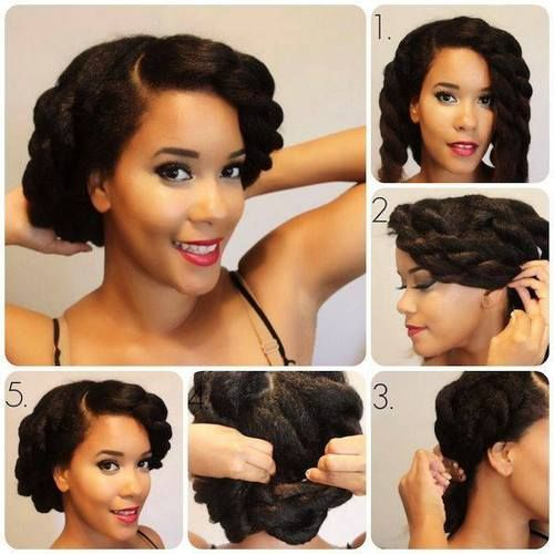 twist and tuck for curly updos