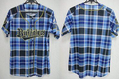 2016 Orix Buffaloes Men's Day Limited Baseball Check Jersey Shirt Osaka Kobe NEW