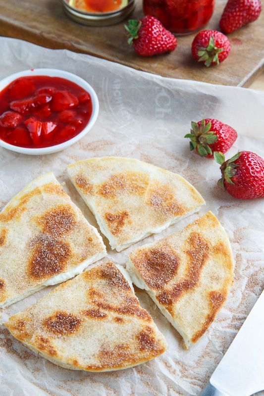 Strawberry Cheesecakeadillas try low carb tortilla ff cream chees for filling and any fruit toppings