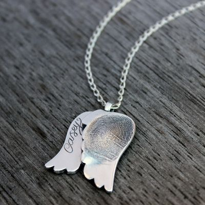 Angel wing memorial pendant with loved ones fingerprint. Keep your loved ones close to your heart. xx