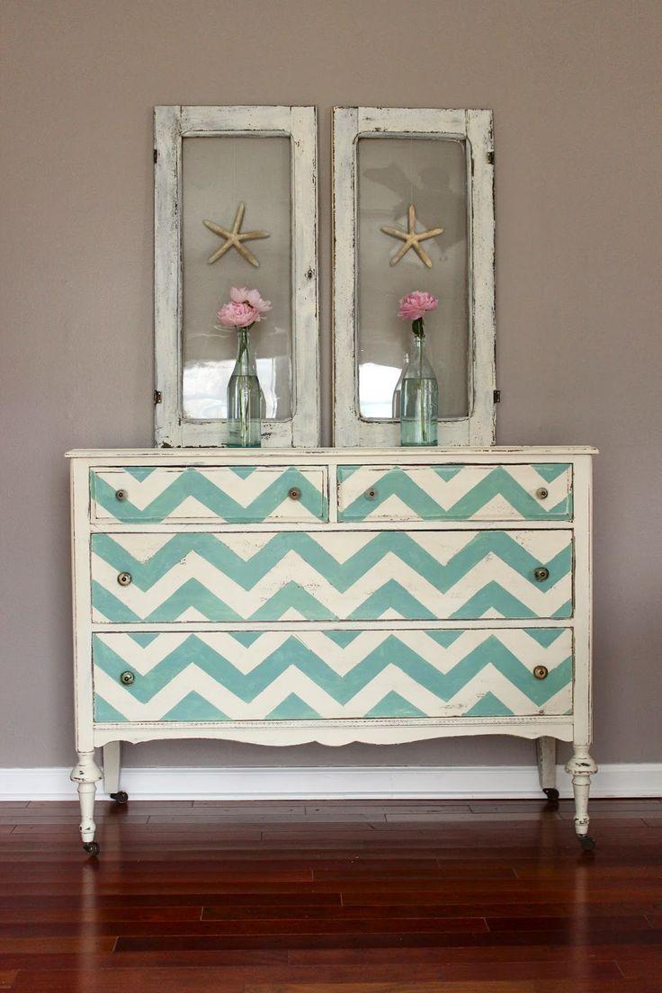 Shades of Blue Interiors: Makeover Monday: Aqua Chevron  Peonies. Blue white turquoise dresser