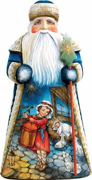 Artistic Wood Carved Peaceful Slumber Santa Claus Nativity Sculpture traditional-holiday-accents-and-figurines
