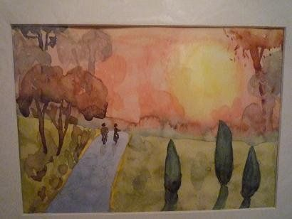 Sunset, watercolor by H.W.