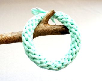 Necklace - Mint - Statement - Woven necklace - Ethno jewelry - Modern jewelry - Sporty jewelry - Cotton yarn - Boho style - Christmas gift - Edit Listing - Etsy