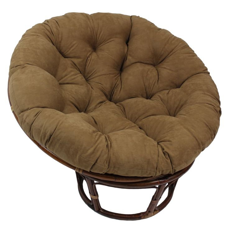 Enjoy the stylish comfort of this Rattan Papasan Chair with Plush Micro Suede Cushion. A variety of Cushion colors and a Walnut Finish provide an excellent and addition to your home decor.