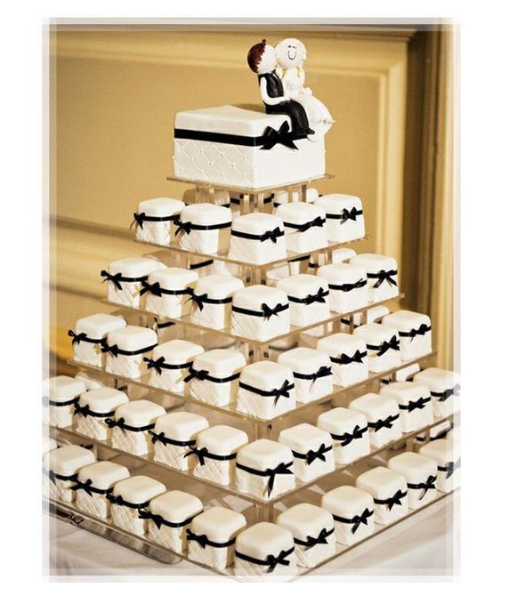 Black and White Wedding Mini Cakes Tower!