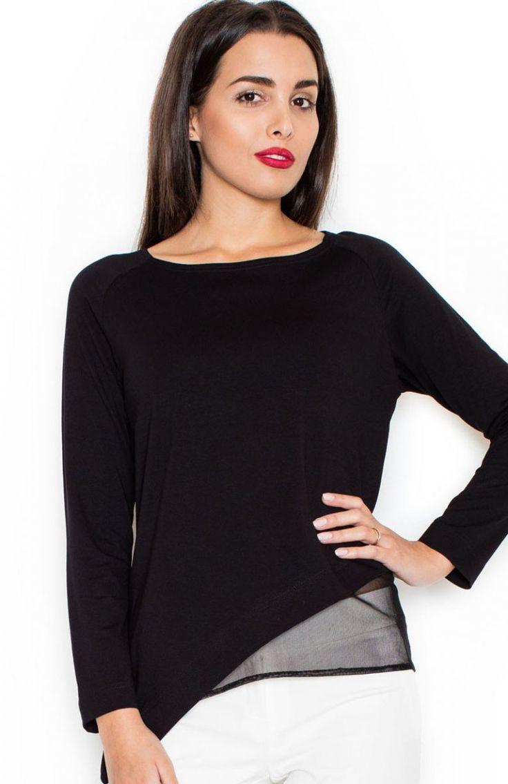 Katrus K321 bluzka czarna Elegancka bluzka, asymetryczny krój, bluzka wykonana z gładkiej dzianiny