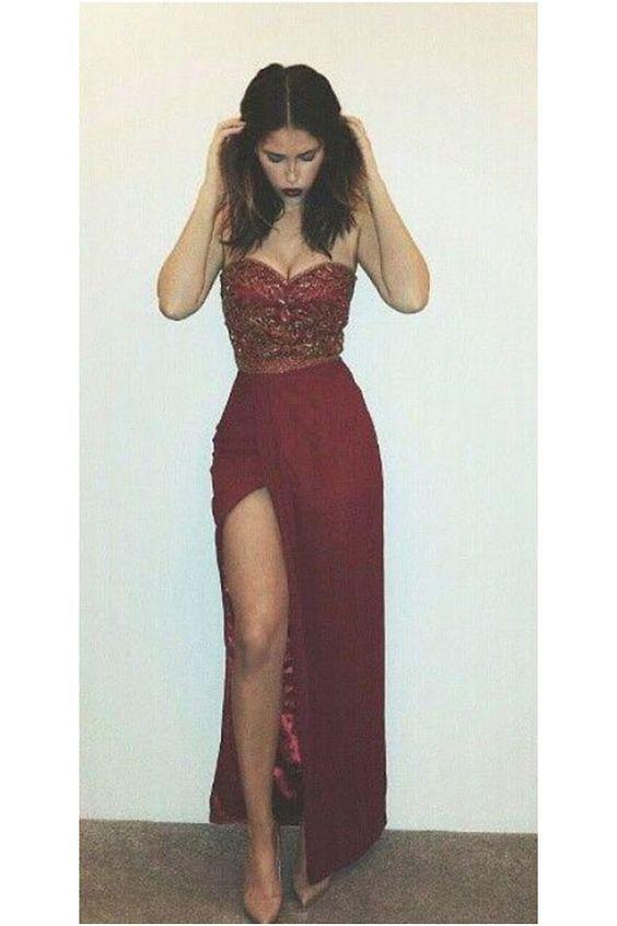 8b6dd2071f Rust Red Prom Dresses, Rhinestone Prom Dresses, Prom Dresses Cheap ...
