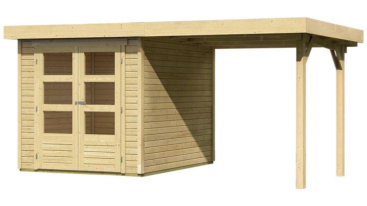 KARIBU Gartenhaus »Arnis 2« mit seitlichem Schleppdach (ca. 220cm breit), Gartenhaus »Arnis 2«, BxT: 213 x 217 cm, Wandstärke: 19 mm, mit seitlichem Schleppdach