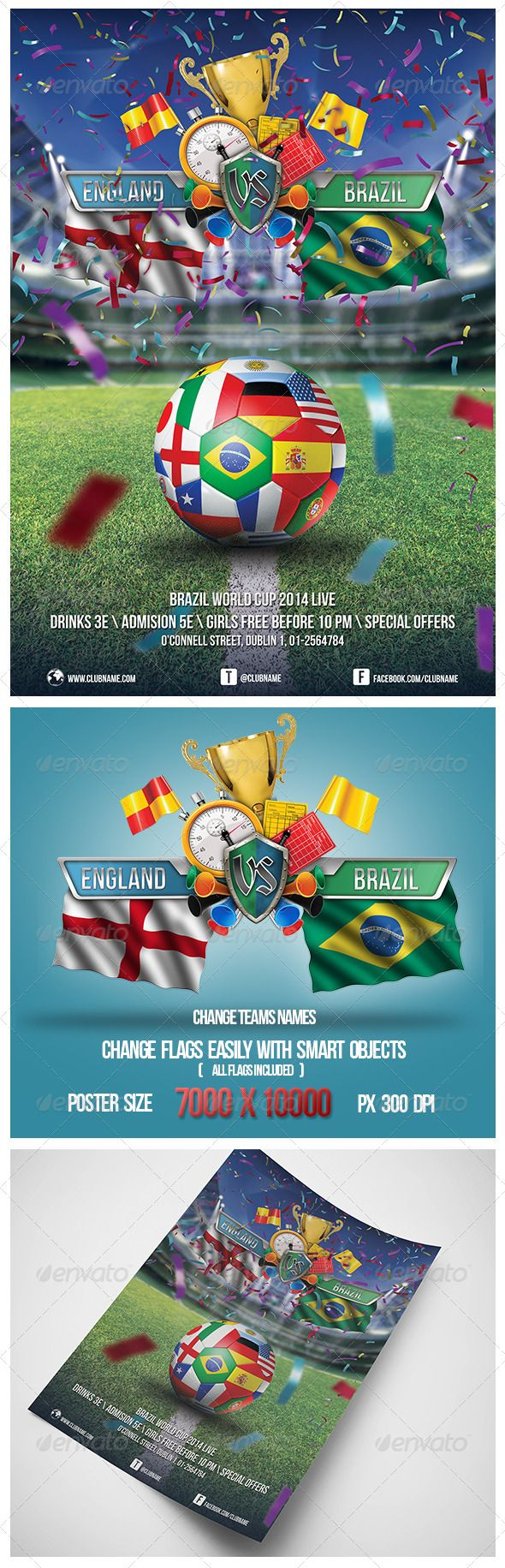 Brazil Football Cup 2014 Soccer Poster — Photoshop PSD #game #world cup • Available here → https://graphicriver.net/item/brazil-football-cup-2014-soccer-poster/7864109?ref=pxcr