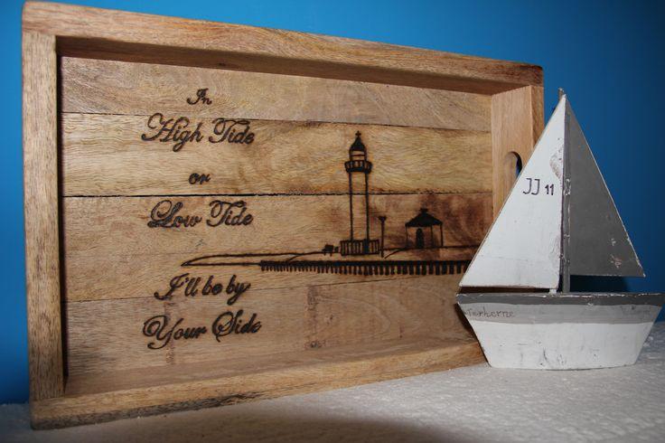 WOOD dienblad (natural), Met liefde gemaakt voor iemand die al 85 jaar bij deze vuurtoren woont! #100%lief www.wooddesign.jouwweb.nl