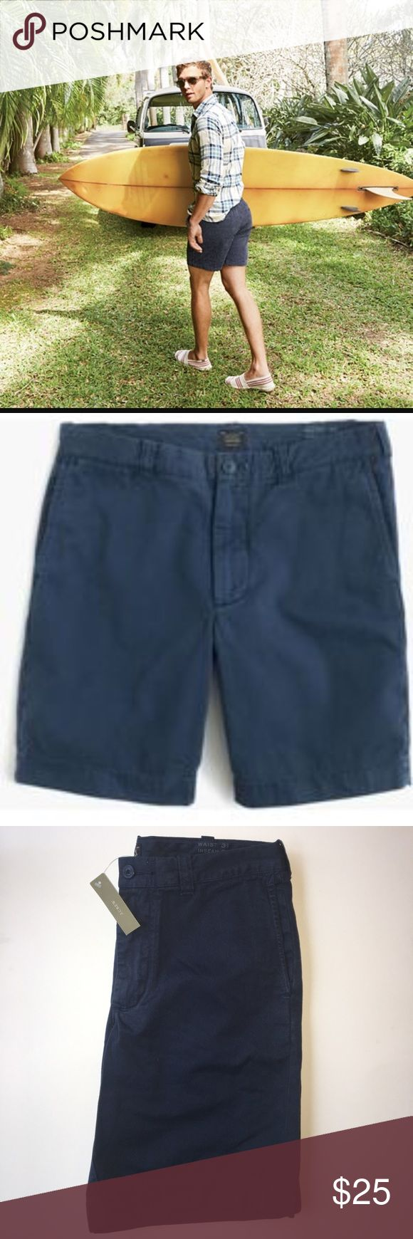 """J. Crew 9"""" Garment Dyed Short BNWT Navy blue chino shorts, 9"""" inseam. 100% cotton, fit true to size. S&P free home. J. Crew Shorts Flat Front"""