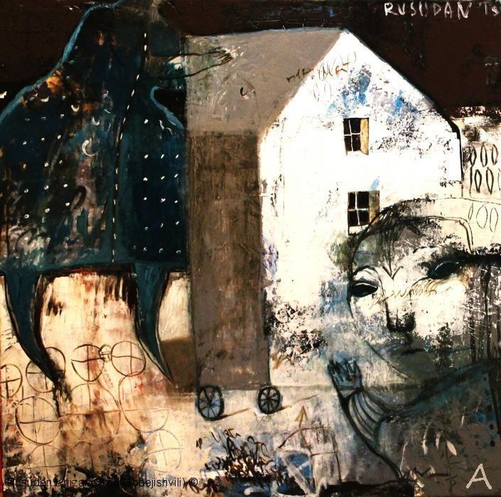 "Rusudan Gobejishvili.---""Moon Light"" Malerei,Leinwand/Öl,65x65cm, 2013г., verkauf"