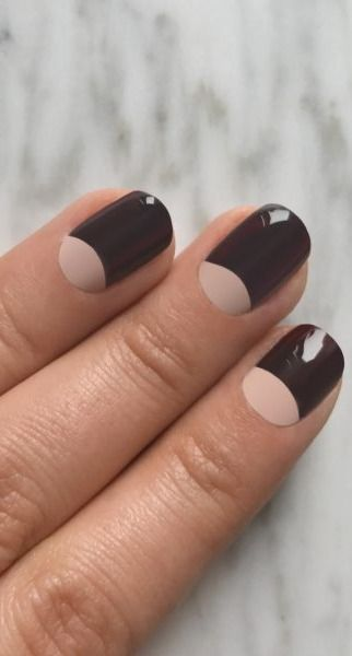 There's nothing sexier than a dark red polish that's almost black, and pairing it with a soft nude keeps it ladylike.