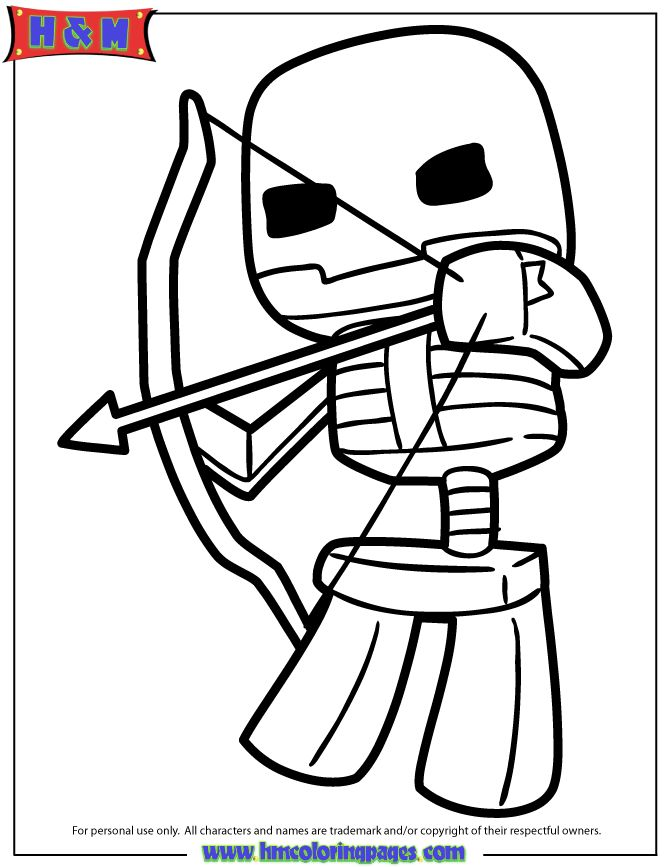 Minecraft Skeleton Shooting Bow And Arrow Coloring Page