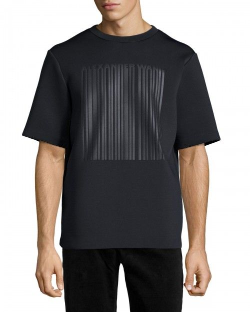 Alexander+Wang+Neoprene+Barcode+Logo+Short+Sleeve+Tshirt+Black+50+T+Shirt+|+Shirts,+Tops+and+Clothing