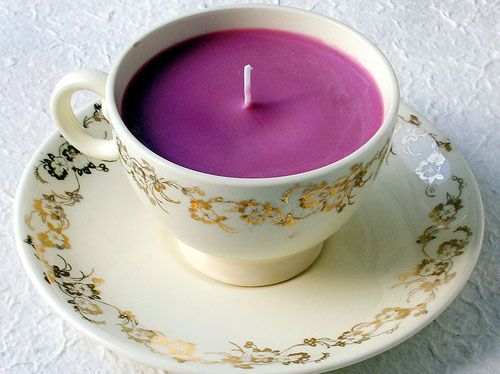 Up-cycled tea cup candles.