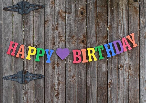 Rainbow Birthday Banner, Rainbow Happy Birthday Banner, 1st Birthday Party Decor, Kids Photo Prop, Primary Colors, Personalized Banner