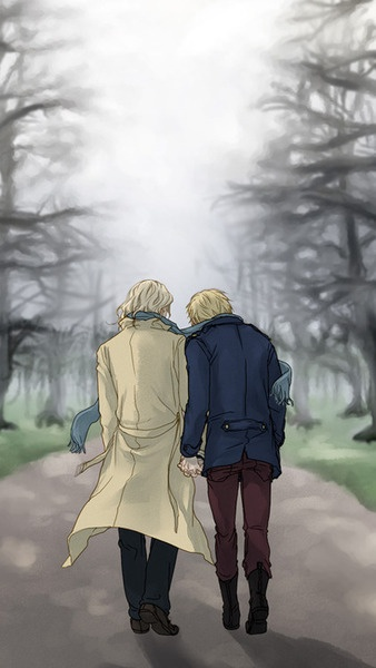 #Hetalia 30-day Challenge #22: Another OTP of mine-FrUK. Because I just want to see them have shenanigans and argue like the old married couple that they are, then make up in the most adorable way possible. And I love seeing them raise Alfie and Mattie! ^_^