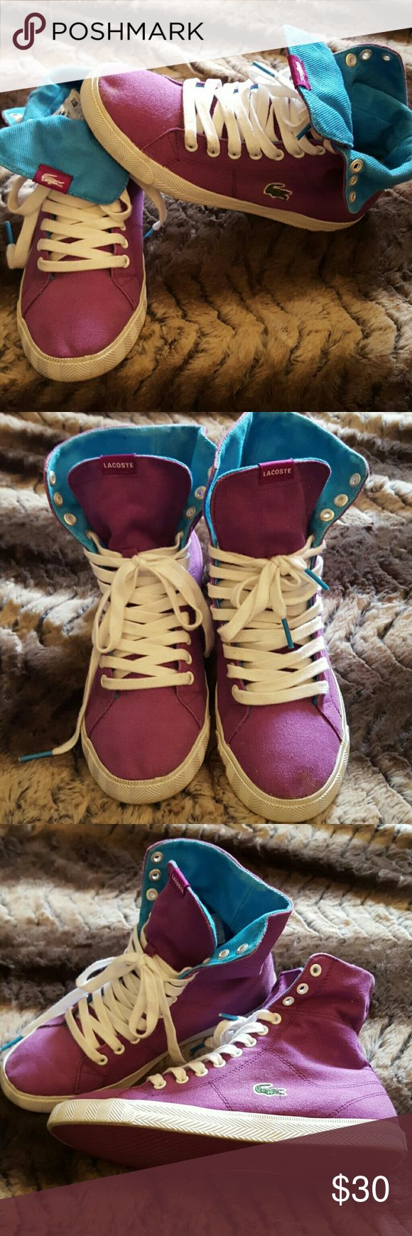 SALE ??LACOSTE SNEAKERS Condition 9/10 , color purple ,size 6.5,worn couple of times, if you have any questions just let me know. Thanks Lacoste Shoes Sneakers