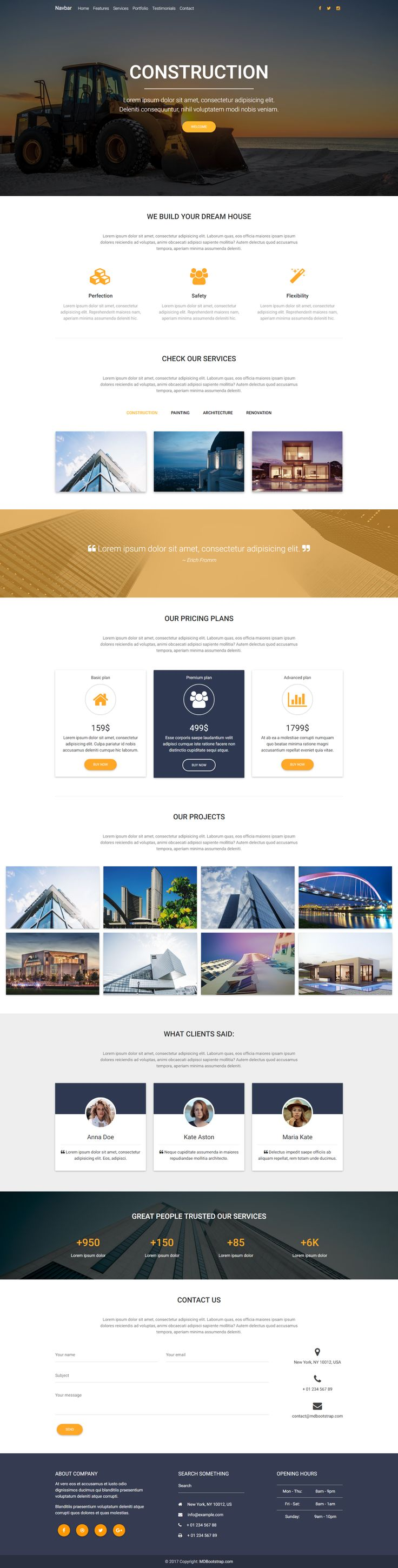 Construction Landing Page Template, perfect for businesses related to architecture