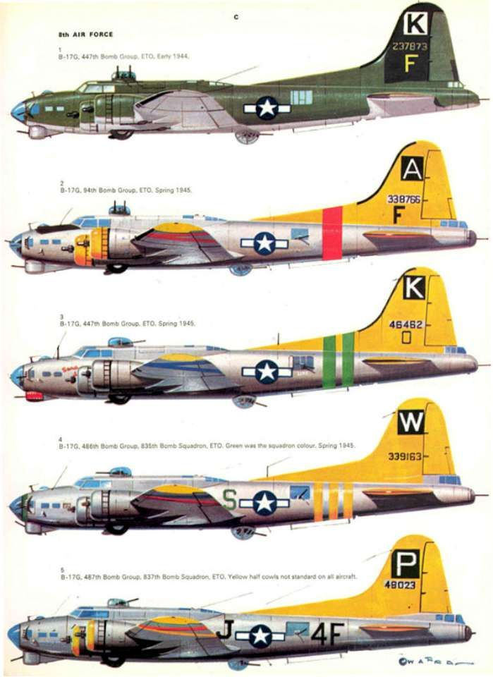 """Boeing B-17 """"Flying Fortress"""". S14 USAAF Bomber Markings & Camo 1941-1945 Vol. 2 Page 25-960"""