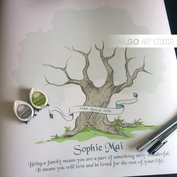 Fingerprint Tree, Unique Wedding Guestbook, Wedding Fingerprint Tree, Wedding Oak Tree, Thumbprint Tree, Family Tree, Tree of Life