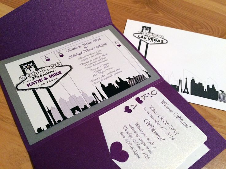 Elegant Las Vegas Themed Wedding Invitation Custom Colors