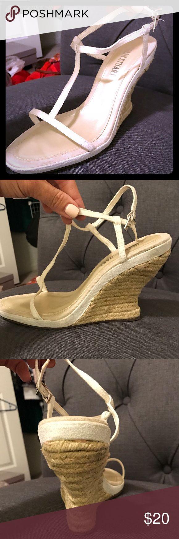 "Colin Stuart leather T strap espadrilles Colin Stuart white leather T strap espadrilles; wedge. 3"" heel. Very cute, only worn once! Comes in original box. Colin Stuart Shoes Espadrilles"
