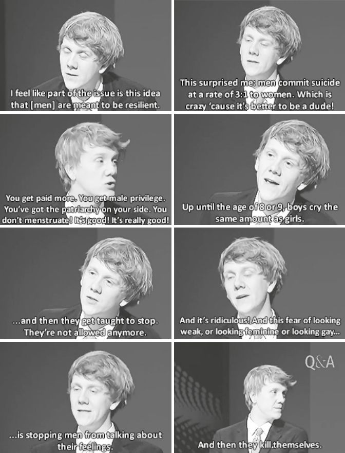 "josh thomas on male suicide this is why men need feminism, not ""men's rights"" - because all the prejudice men face comes from misogyny, not misandry. (as an example, if someone wants to insult a man, they call him ""girly"" or ""pussy"" - anything to make him seem like a woman) hope that makes sense lmao"